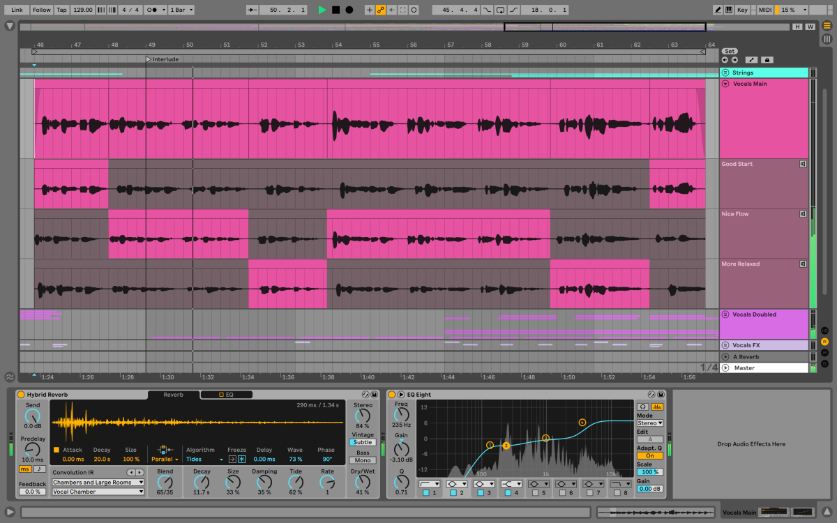 Vocal comping and the Hybrid Reverb