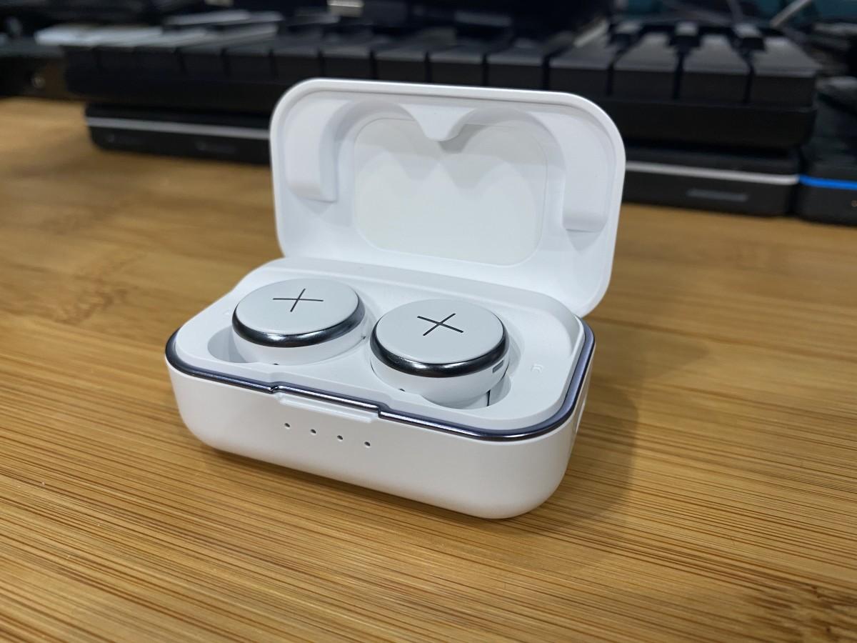 Xellence True Wireless Buds in White in the case.