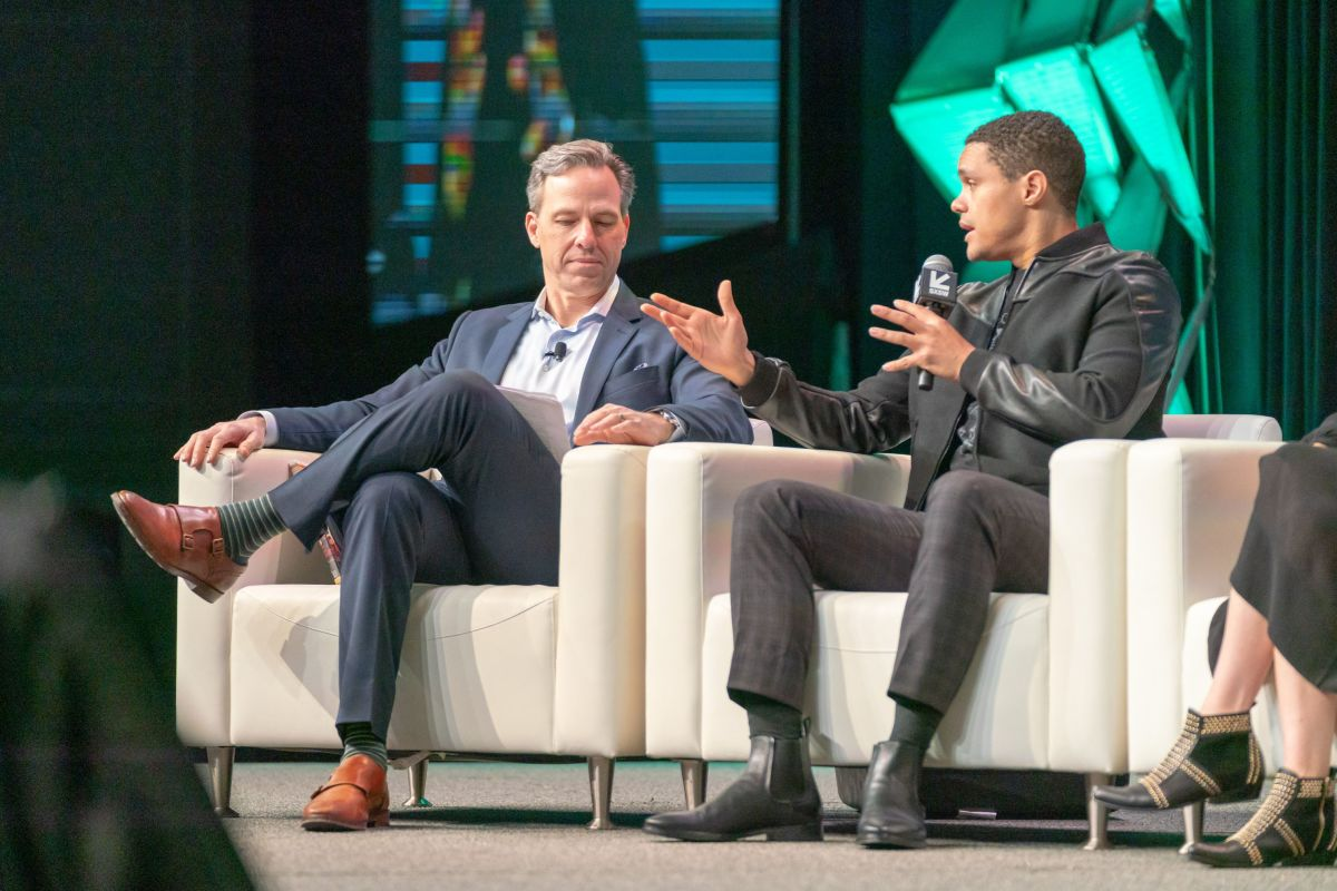 CNN's Jake Tapper and The Daily Show's Trevor Noah speak onstage at the 2019 SXSW Conference and Festivals on March 9, 2019 in Austin, Texas