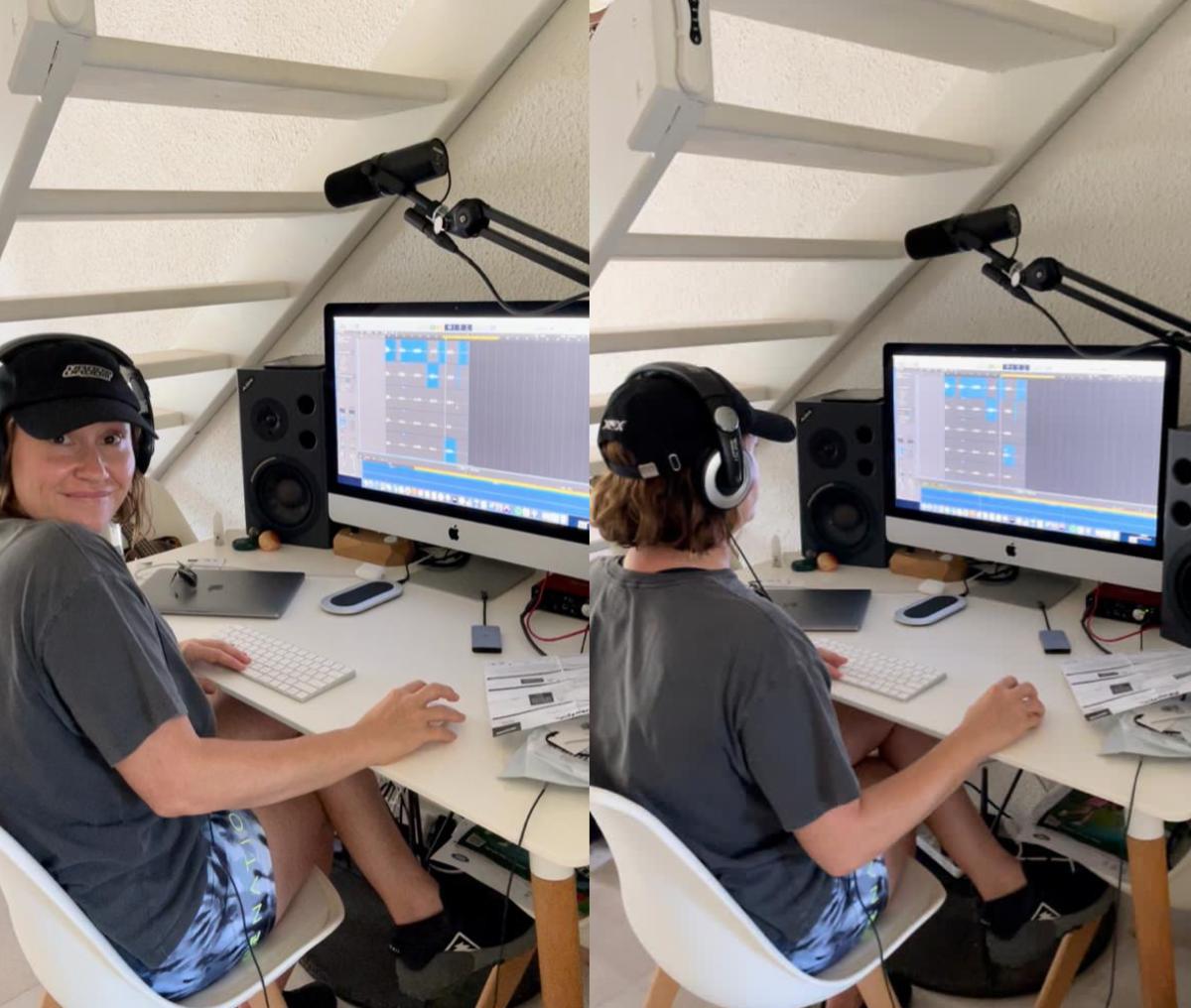 Nat Dunn recording vocals