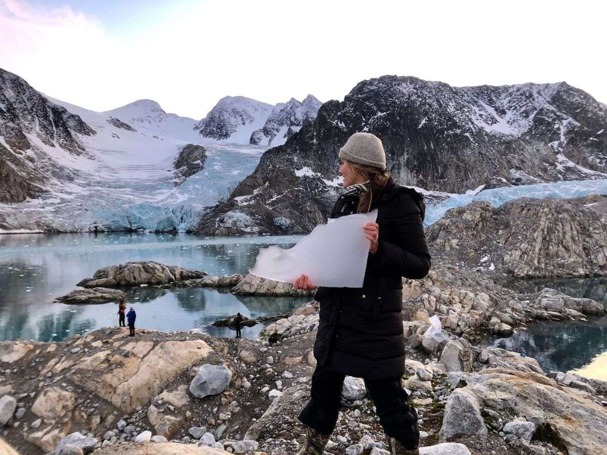 Artist Richelle Gribble at the Arctic Circle Residency in Svalbard, Norway.