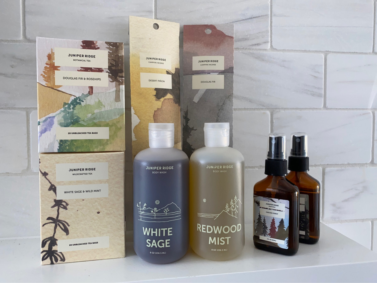 Tea, Incense, Body Wash and Room Spray by Juniper Ridge - Smells like the forest!
