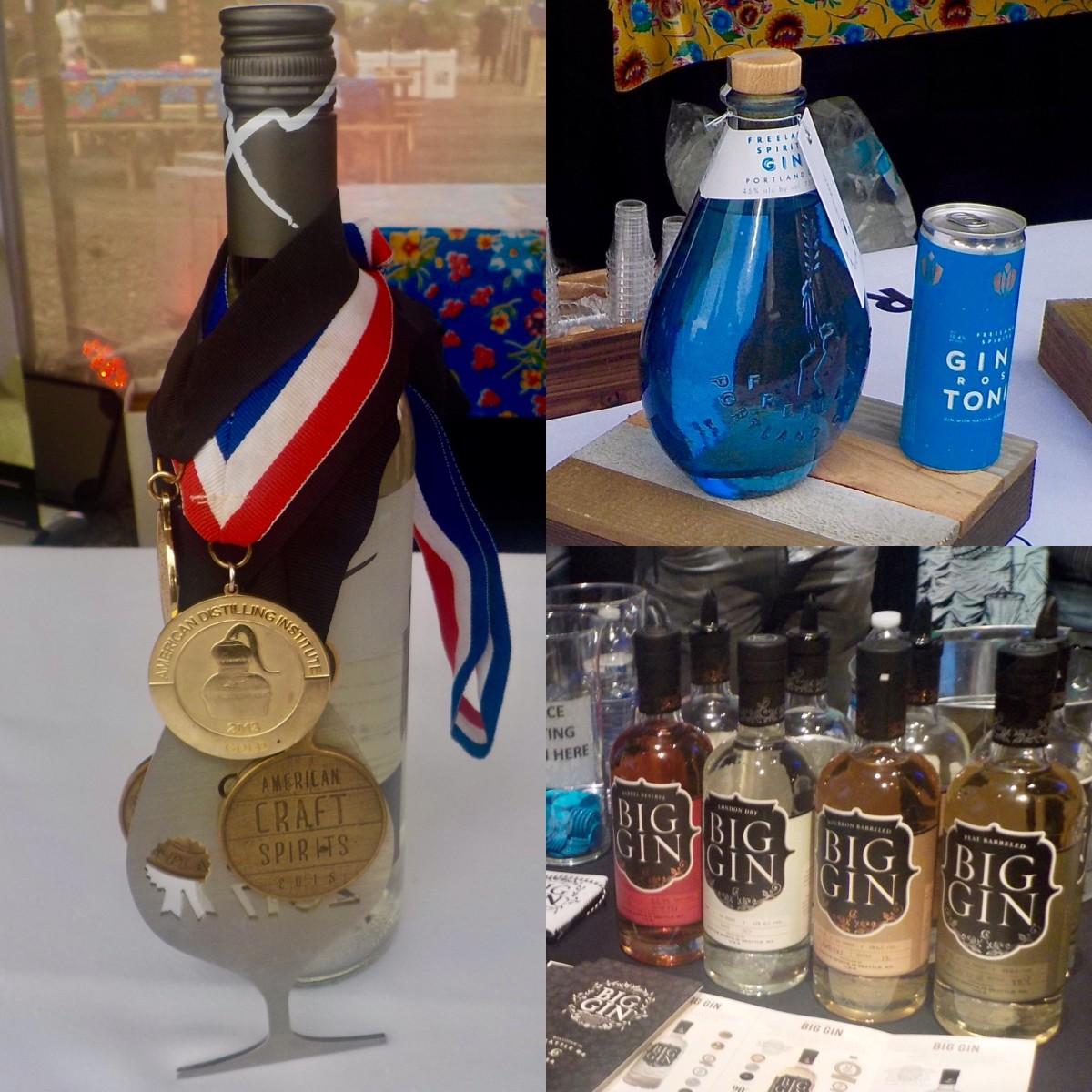 (L to R) Aria Portland Dry Gin (Feast Portland 2019), Freeland Spirits (Feast Portland 2019), Big Gin (Oregon Distilled 2020).