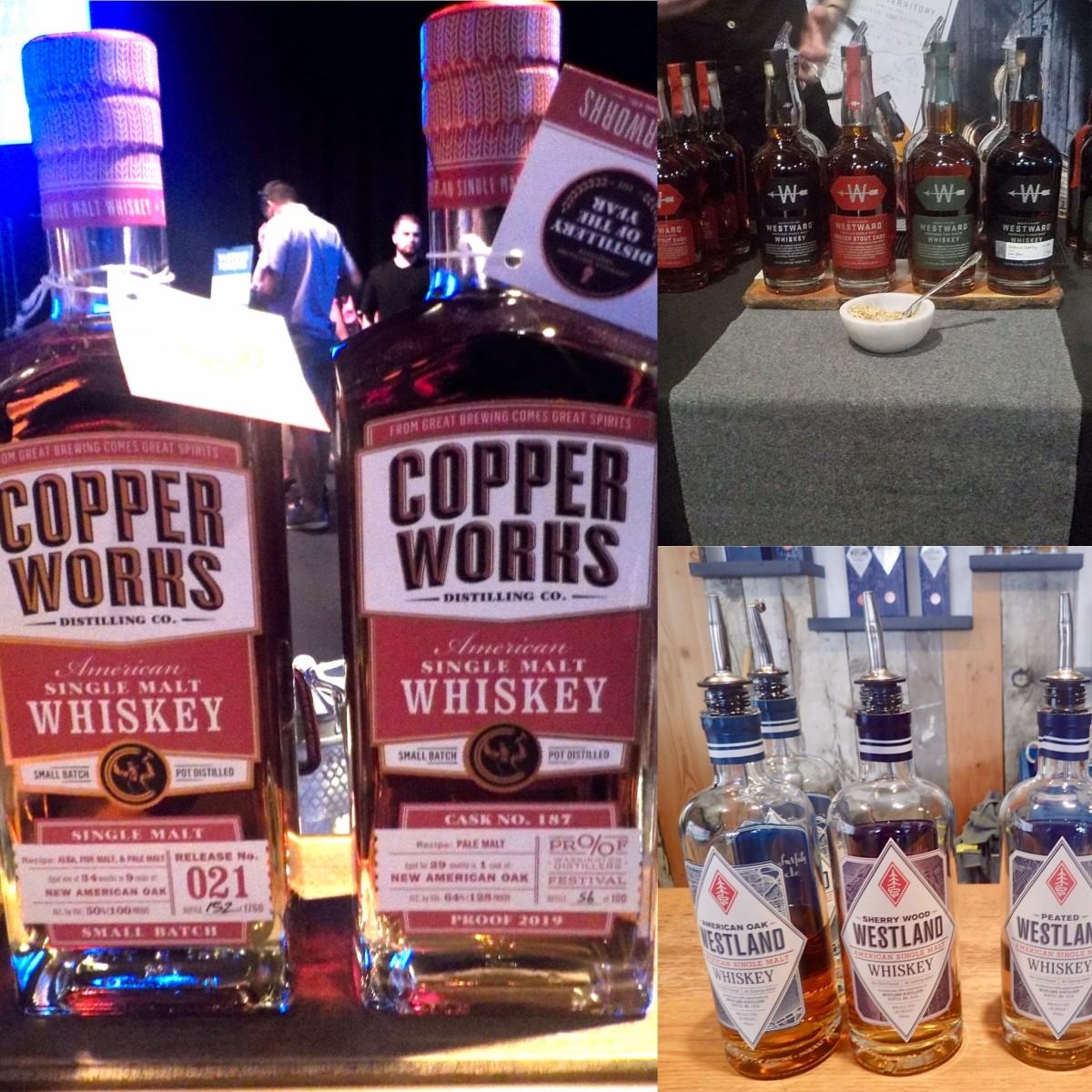 (L to R) Copperworks Distilling (Proof 2019), Westward Whiskey (Oregon Distilled 2020), Westland Distillery