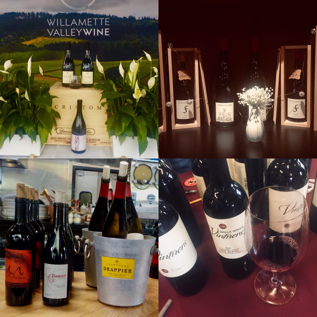 (L to R) Aniche Cellars and Damsel Cellars (Feast Portland 2019), Willamette Valley Wineries Association, Fullerton Wines, Walla Walla Wine Portland Grand Tasting 2020)