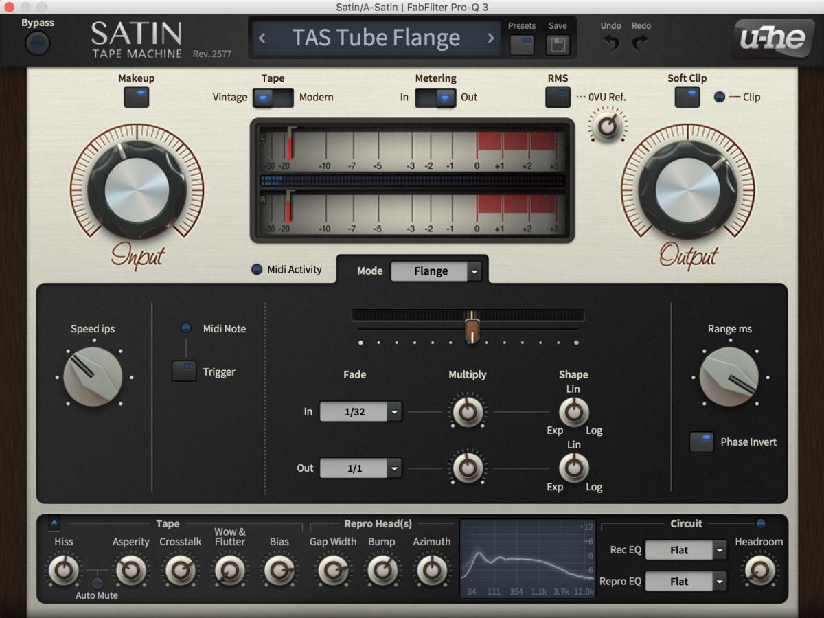 This is a screenshot of the Satin in flange mode I set up as an effect send on the mixdown of the track. Sending a little signal from hats, pads stabs and other high-pitched elements of the tracks helps add some subtle modulation to those sounds without sounding heavy-handed