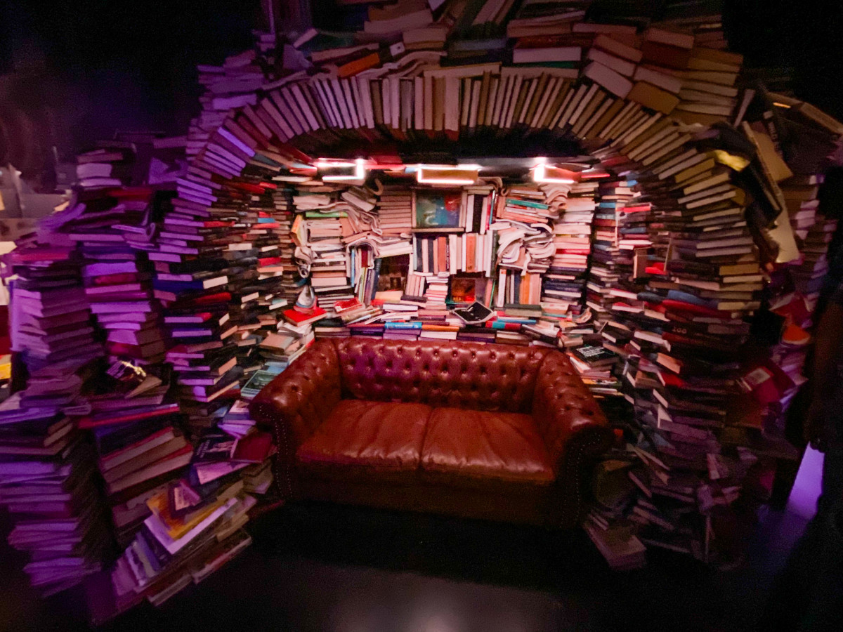 A temple to books, some of which you can pick up and read.