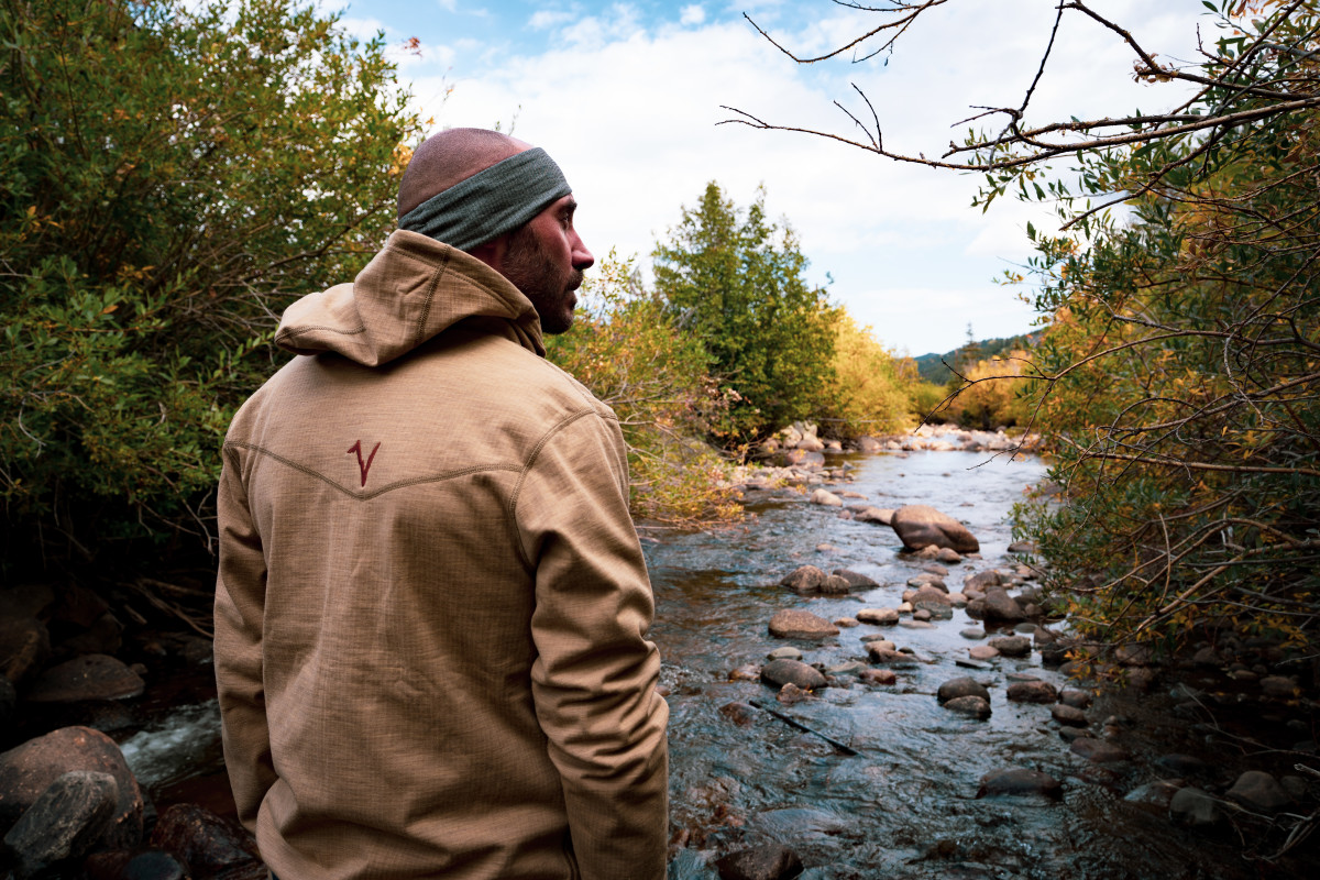 Brett wears the Voormi Diversion Hoodie and headband in Nederland, Co - home of Knotted Root Brewery!