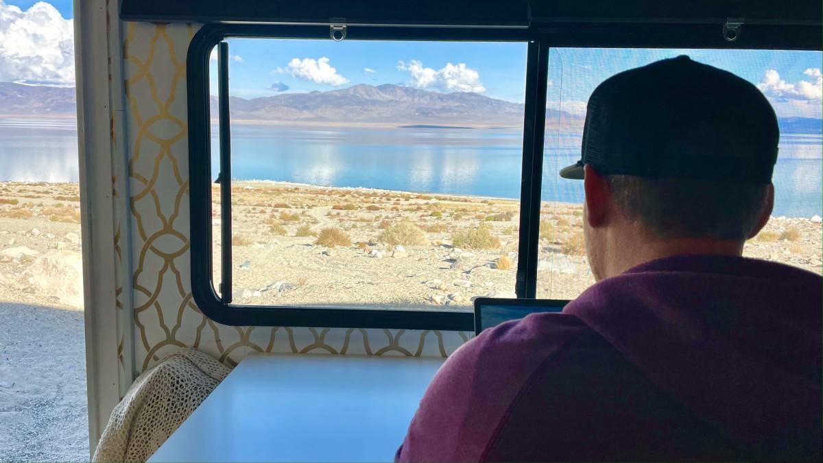 Luke at the desk - Walker Lake, NV