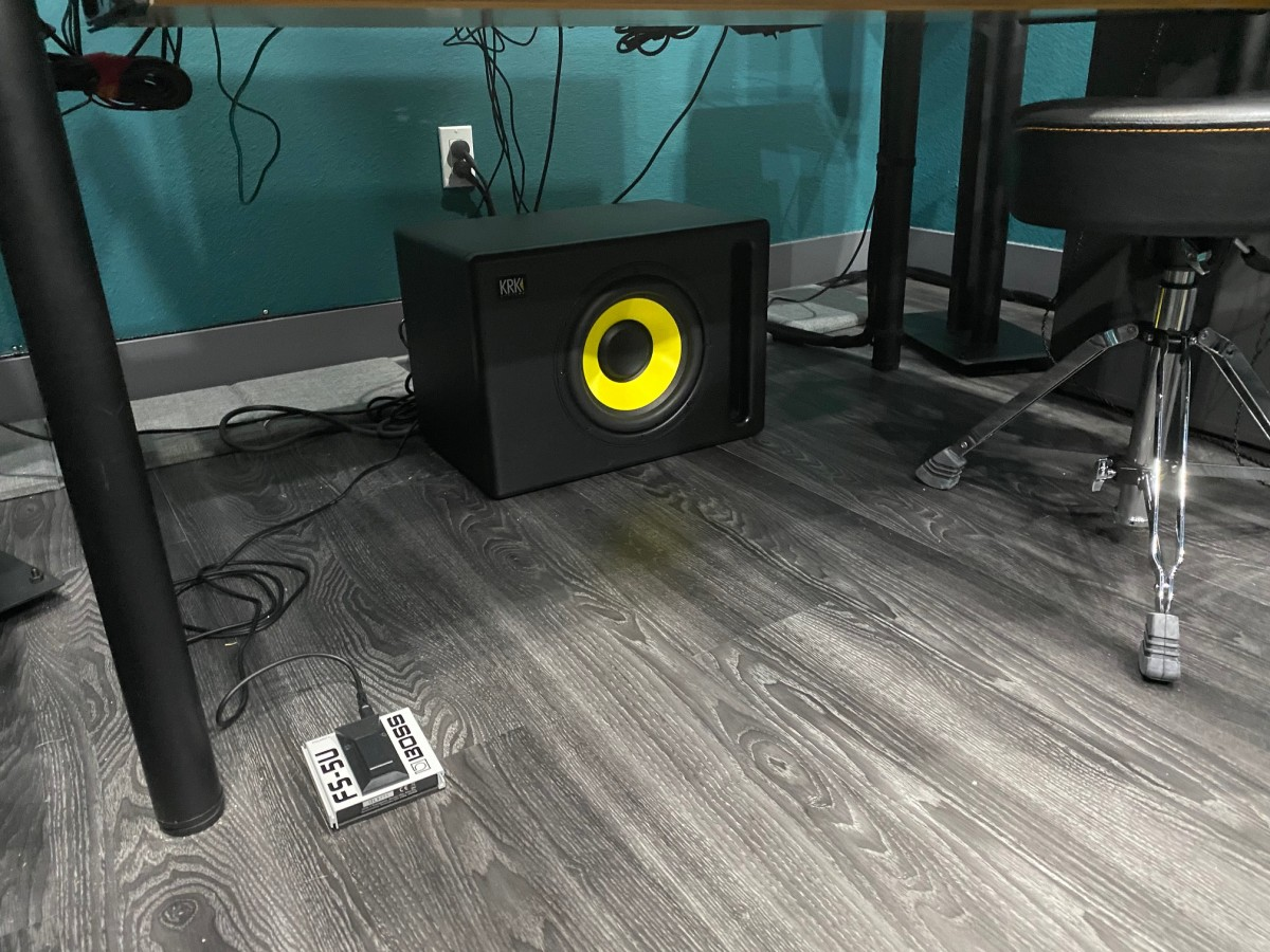 The KRK sS10.4 sub with Boss Pedal