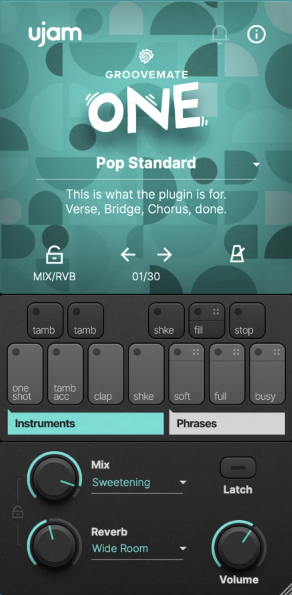 The simple UI of Groovemat ONE keeps you focused on being creative, pick a preset and off you go.