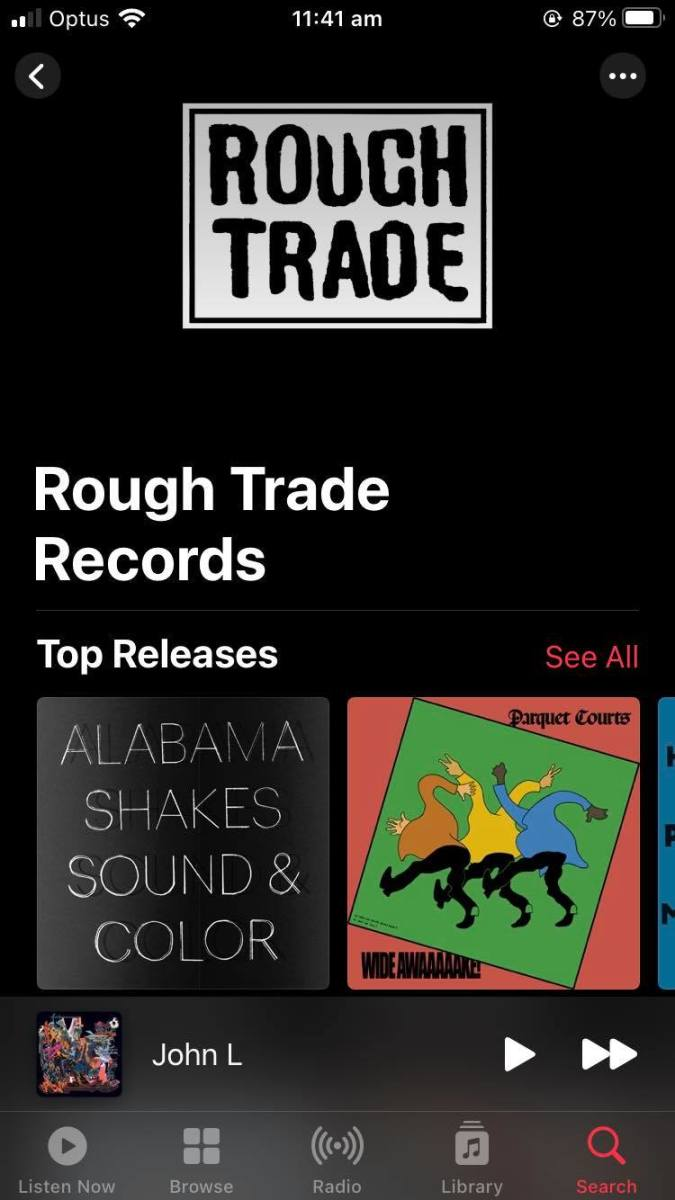 Apple Music Record Label Rough Trade Page