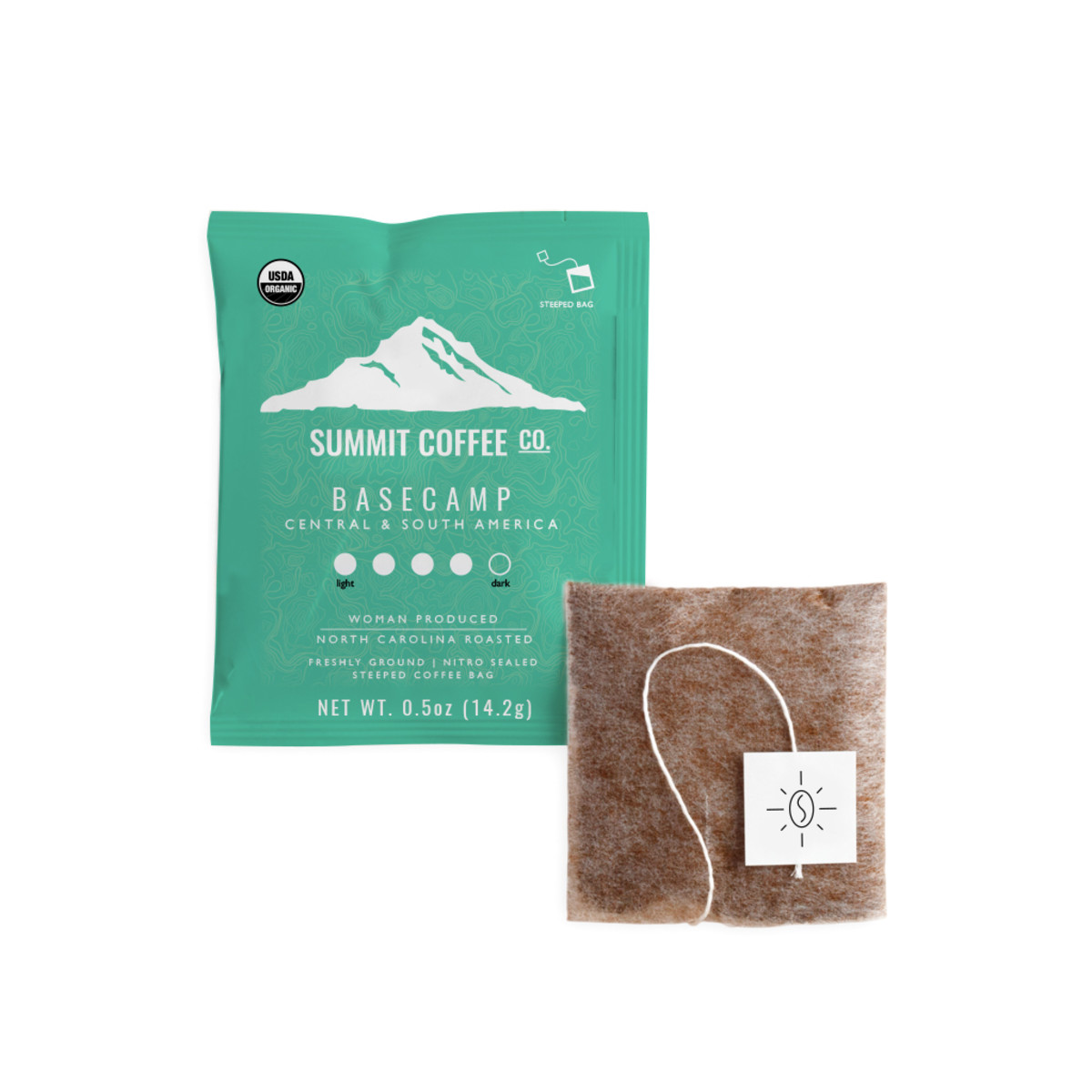 Meet the entirely compostable coffee bag and packaging from Summit Coffee Co. Dip, Steep, Compost!