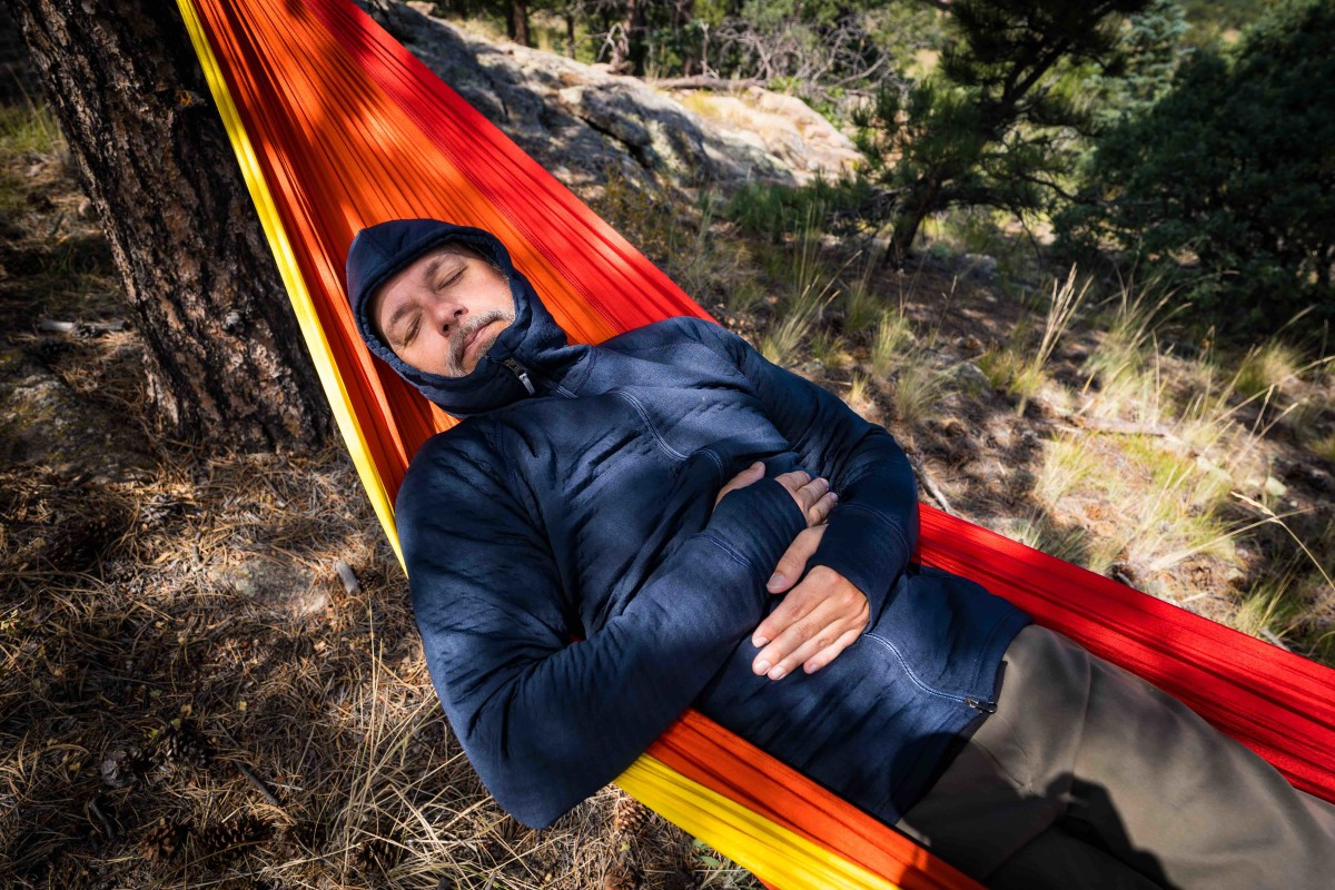 Snoozing at Project Basscamp in the Houdini M Power Air Houdi - Photo by Laura Ireland