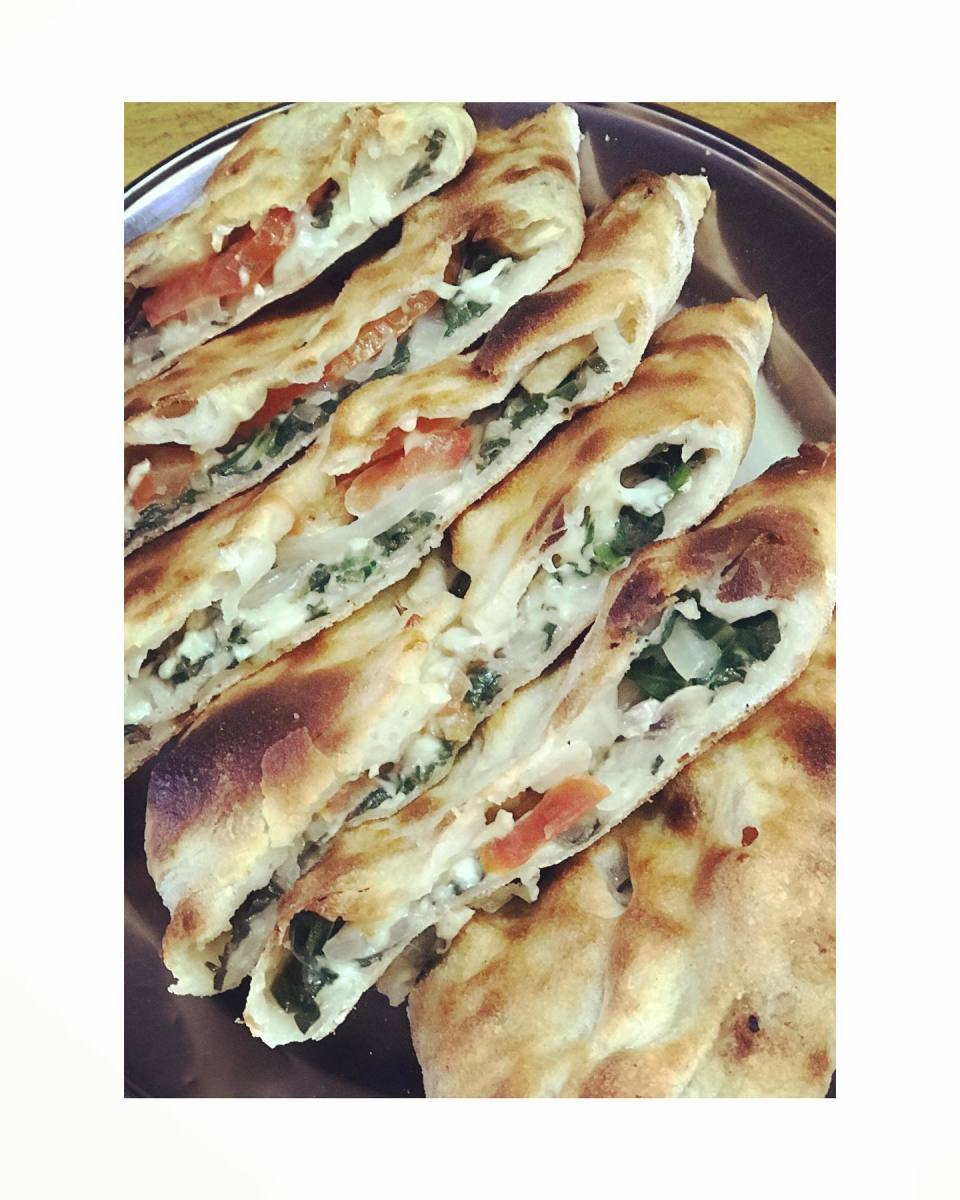Spinach and cheese pide fromSaray Turkish Pizza And Kebab Restaurant