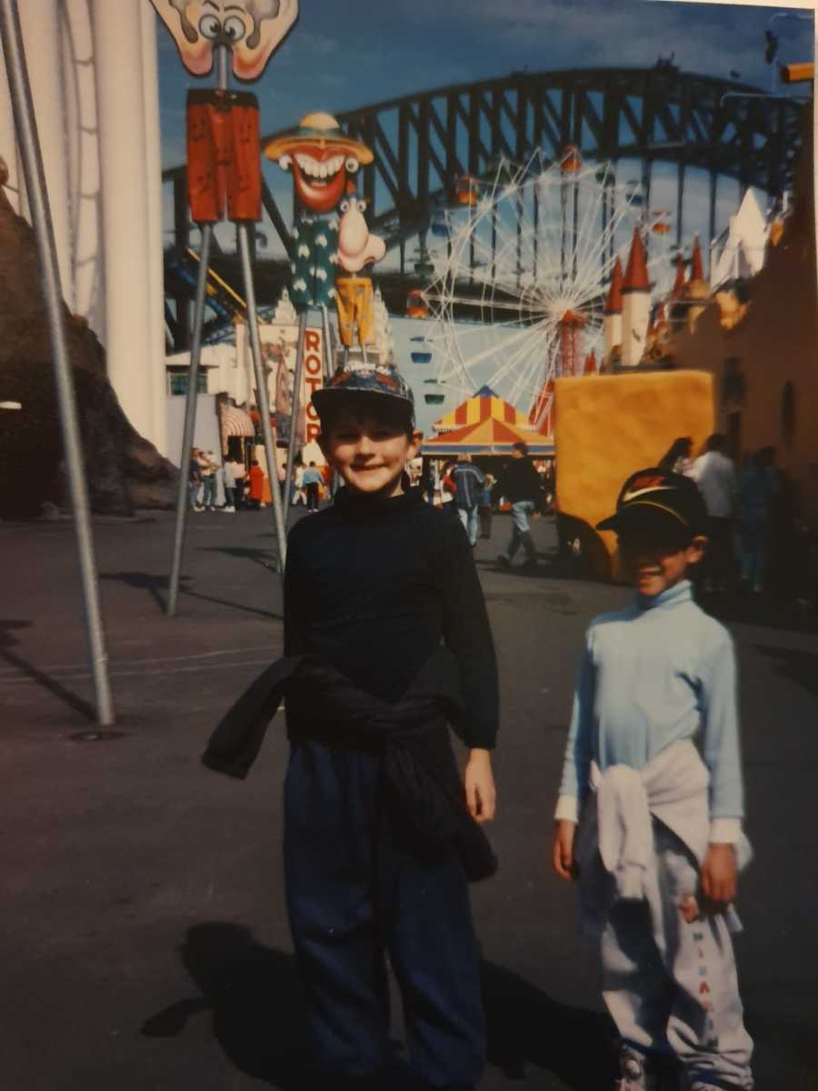 Me and my mate Andy having a sick one at Luna Park, circa 1995.